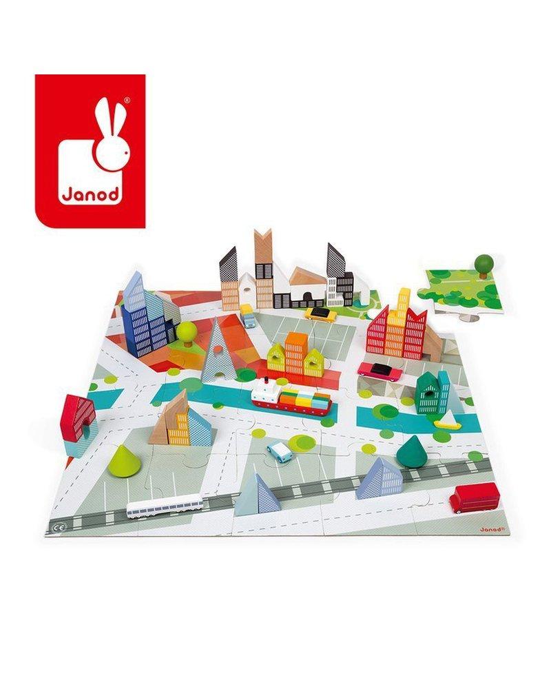 Drewniane klocki z puzzlami Kubix Miasto 60 elementów 3+, Janod