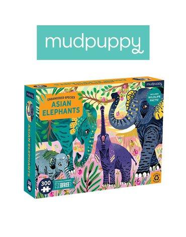 Mudpuppy Puzzle edukacyjne Zagrożone gatunki Słonie azjatyckie 300 elementów 7+