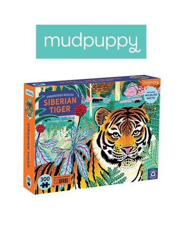 Mudpuppy Puzzle edukacyjne Zagrożone gatunki Tygrys syberyjski 300 elementów 7+