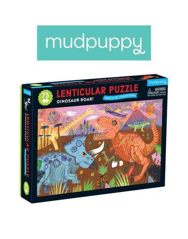 Mudpuppy Puzzle soczewkowe z ruchomym obrazkiem 3D Dinozaury 75 elementów 5+