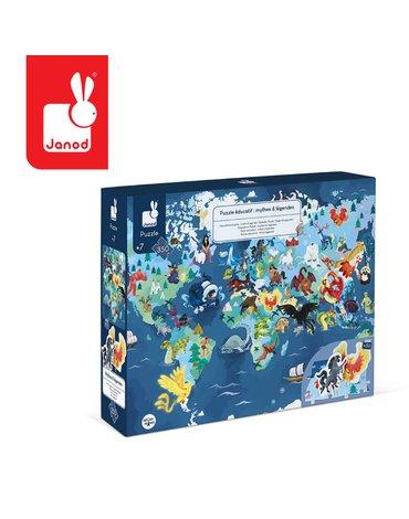 Puzzle edukacyjne z figurkami 3D Legendy i mity 350 elementów 7 +, Janod