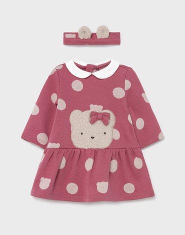 Mayoral - Sukienka ECOFRIENDS w groszki dla noworodka dziewczynki