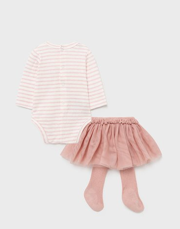 Mayoral - Komplet ze spódnicą dla noworodka dziewczynki