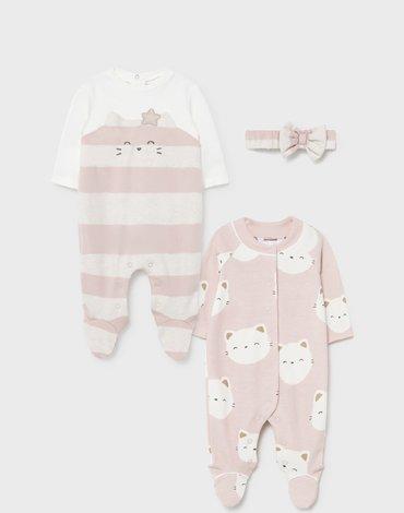 Mayoral - Zestaw 2 piżamek ECOFRIENDS dla noworodka dziewczynk