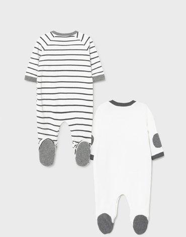 Mayoral - Zestaw 2 piżamek ECOFRIENDS ze śliniaczkiem dla noworodka chłopca