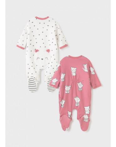 MAYORAL - Zestaw 2 piżamek ECOFRIENDS dla noworodka dziewczynki