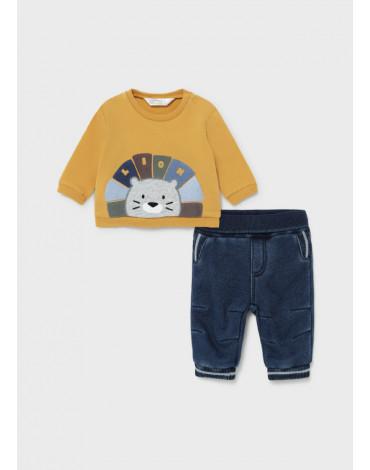 MAYORAL - Komplet ze spodniami jeansowymi dla noworodka chłopca