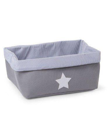 CHILDHOME - Pudełko płócienne 40 x 32 x 20 cm Grey Stripes