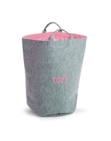 CHILDHOME - Filcowa torba na zabawki różowy z uchwytami