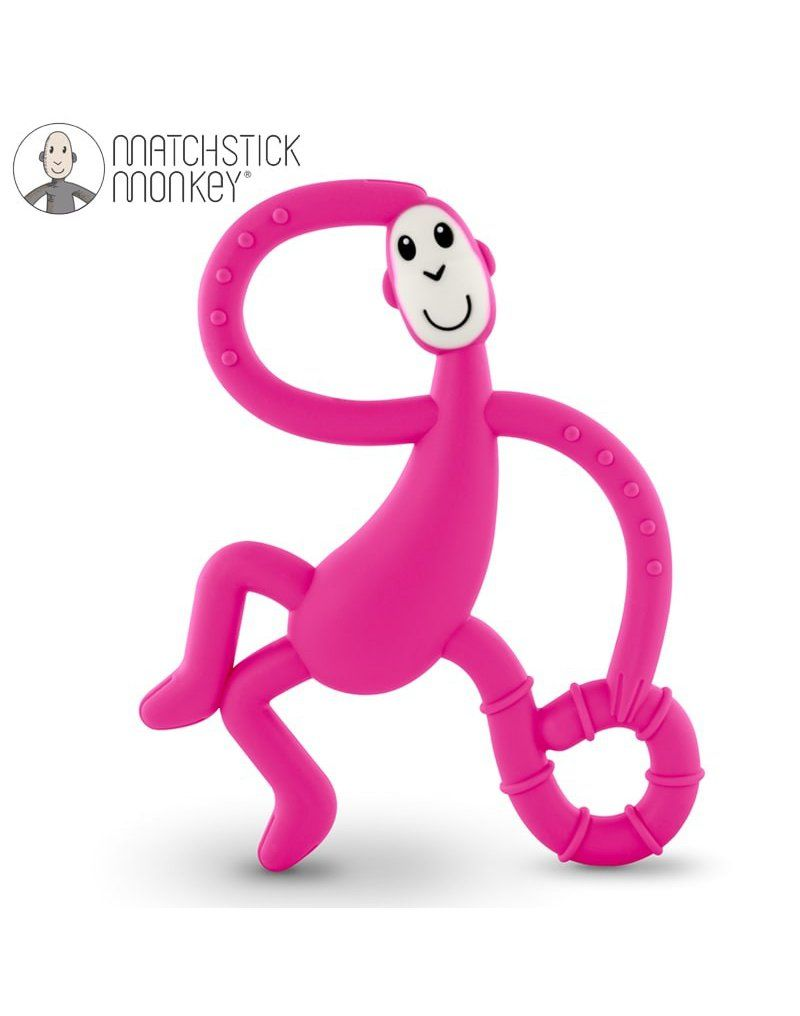 Matchstick Monkey Dancing Pink Terapeutyczny Gryzak Masujący ze Szczoteczką