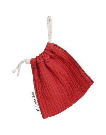 Hi Little One - woreczek na smoczek muslin pacifers bag Strawberry