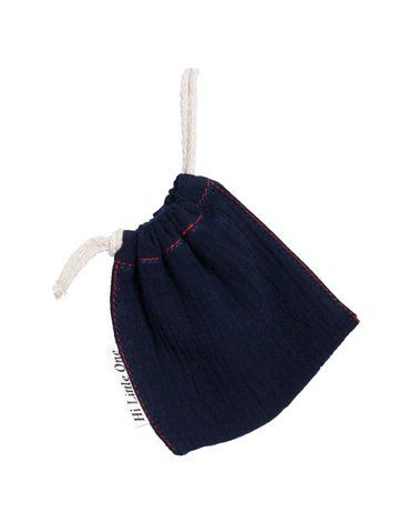 Hi Little One - woreczek na smoczek muslin pacifers bag Navy