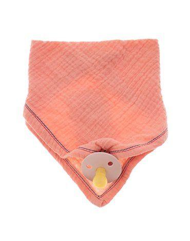 Hi Little One - Śliniak muślinowy bandana z zawieszką na smoczek muslin bandana bibs with pacifire holder Salmon