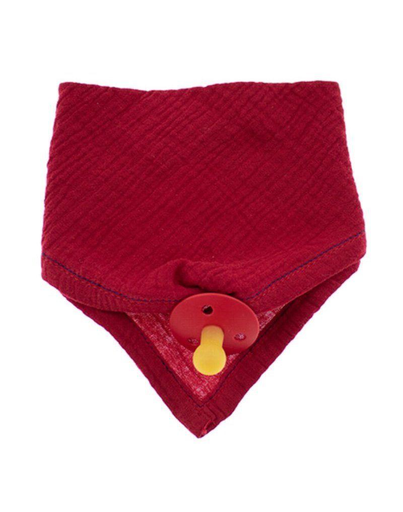 Hi Little One - Śliniak muślinowy bandana z zawieszką na smoczek muslin bandana bibs with pacifire holder Strawberry
