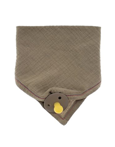Hi Little One - Śliniak muślinowy bandana z zawieszką na smoczek muslin bandana bibs with pacifire holder Dark Oak Light