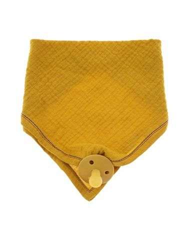 Hi Little One - Śliniak muślinowy bandana z zawieszką na smoczek muslin bandana bibs with pacifire holder Mustard
