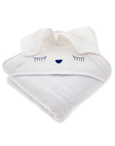Hi Little One - Ręcznik z kapturem 100 x 100 SLEEPY BUNNY hooded bath towel White