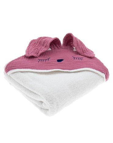 Hi Little One - Ręcznik z kapturem 100 x 100 SLEEPY BUNNY hooded bath towel Baby Pink Dark
