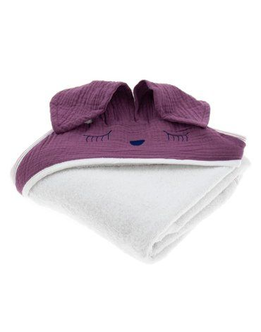 Hi Little One - Ręcznik z kapturem 100 x 100 SLEEPY BUNNY hooded bath towel Lavender
