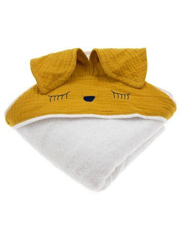 Hi Little One - Ręcznik z kapturem 100 x 100 SLEEPY BUNNY hooded bath towel Mustard