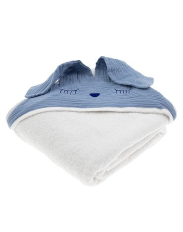 Hi Little One - Ręcznik z kapturem 100 x 100 SLEEPY BUNNY hooded bath towel Sky Blue