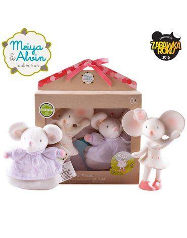 Meiya and Alvin - Meiya & Alvin - Meiya Mouse Organic Babyshower Set z grzechotką