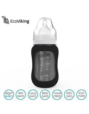 Eco Viking Antykolkowa Butelka Szklana Szeroka dla Niemowląt 180 ml Black Velvet
