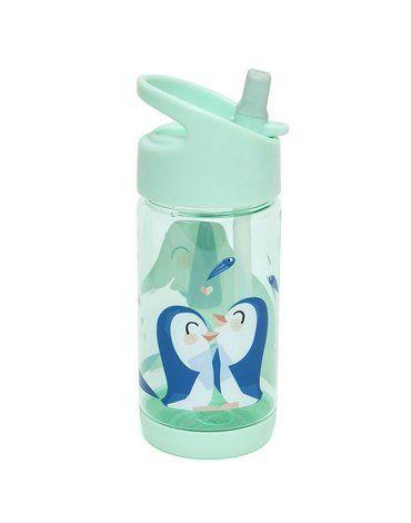 Petit Monkey - Bidon transparentny ze składanym ustnikiem i słomką Słoń i Pingwiny