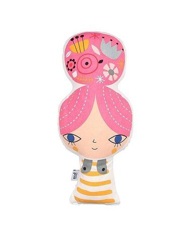 Petit Monkey - poduszka z BIO bawełny Dziewczynka z kokiem 42 cm