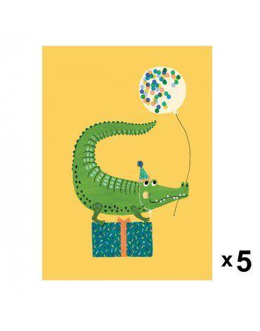 Petit Monkey - Crocodile zaproszenia urodzinowe zestaw 5 szt.