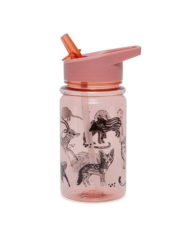 Petit Monkey - Bidon transparentny ze składanym ustnikiem i słomką Desert Rose