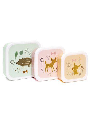 Petit Monkey - Zestaw 3 śniadaniówek lunchbox Przyjaciele z lasu