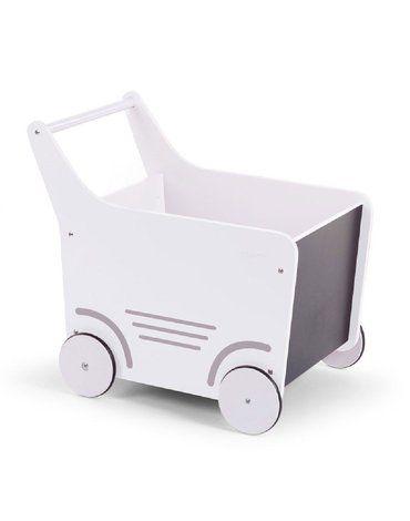 CHILDHOME - Drewniany pchaczyk na zabawki White