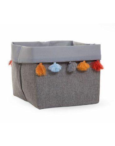 CHILDHOME - Pudełko materiałowe 32x32x29 szary pompony