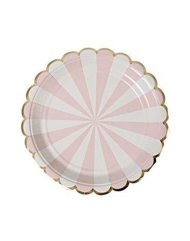 Meri Meri - Małe talerzyki Paski różowe
