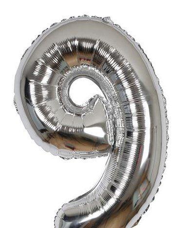 Meri Meri - Balon Cyfra 9 Srebrny