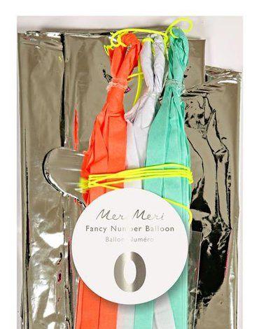 Meri Meri - Balon Cyfra 0 Srebrny