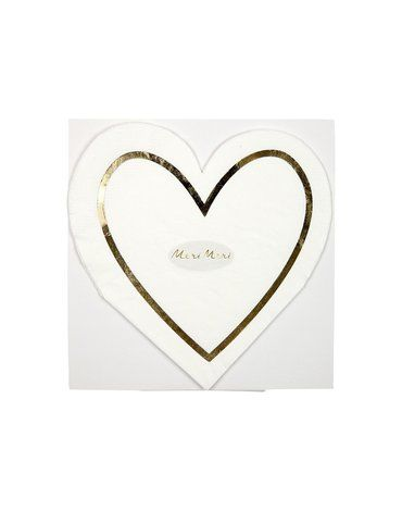Meri Meri - Serwetki Serce biało-złote
