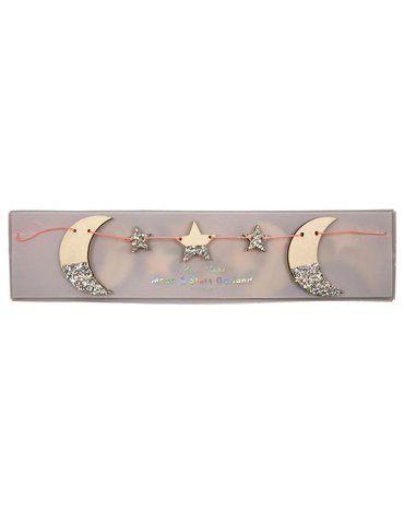 Meri Meri - Girlanda drewniana Księżyc i gwiazdki