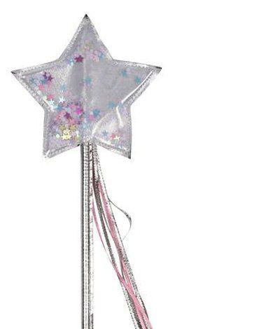 Meri Meri - Różdżka srebrna z kolorywmi gwiazdkami
