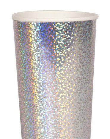 Meri Meri - Wysokie kubeczki Świecące srebrne