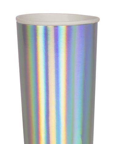 Meri Meri - Wysokie kubeczki Holograficzne srebrne