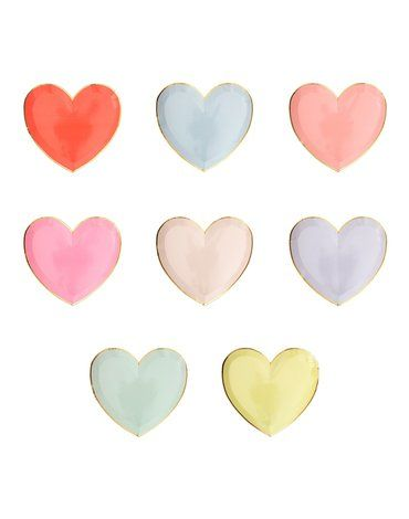Meri Meri - Małe talerzyki Serce pastelowe