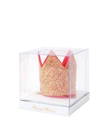 Meri Meri - Spinka do włosów Korona mini różowa