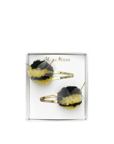 Meri Meri - Spinki do włosów Pszczółka pompony