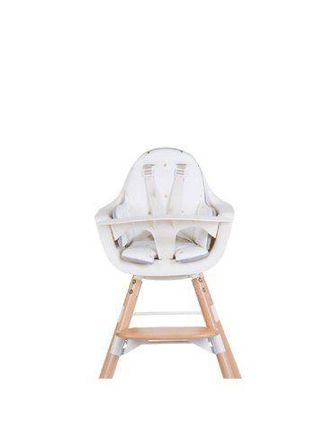 CHILDHOME - Dwustronny ochraniacz do krzesełka Evolu 2 Jersey Grey/Gold Dots