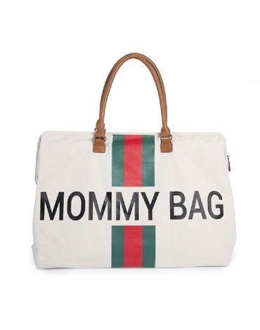 CHILDHOME - Torba Mommy Bag Paski Zielono-Czerwone