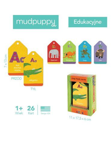 Mudpuppy Karty do nauki alfabetu i literek Fiszki Zwierzęta 1+