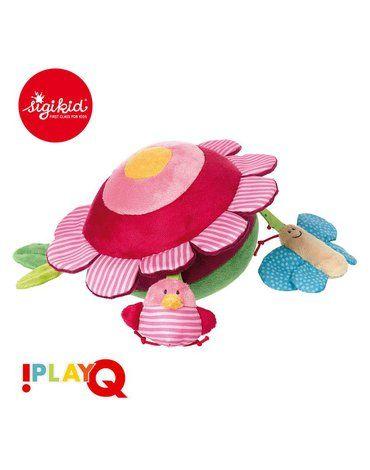 SIGIKID Aktywizująca miękka piłka z wypustkami Owady na łące z grzechotką i szeleszczącą folią 3m+ PlayQ