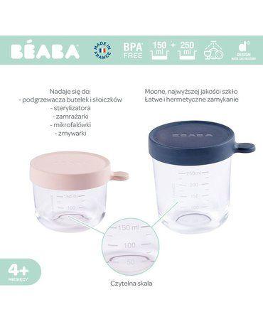 Beaba Zestaw pojemników słoiczków szklanych z hermetycznym zamknięciem 150 + 250 ml pink i dark blue